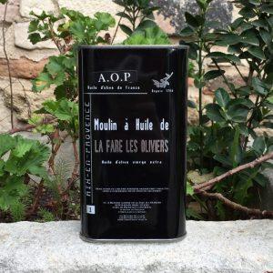 Bidon métal d'huile d'olive vierge AOP de 1L
